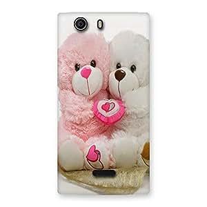 Ajay Enterprises Pink White Teddy Hug Back Case Cover for Canvas Nitro 2 E311