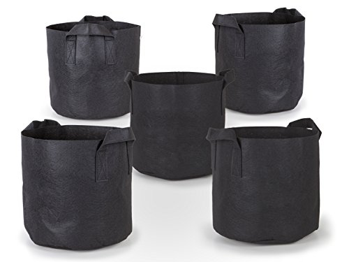 247Garden 5-Pack 7 Gallon Grow Bags /Aeration Fabric Pots w/Handles (Black) (Plant Pots Outdoor compare prices)
