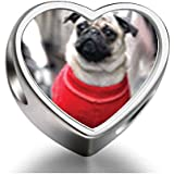 925 Sterling Silver Charms Beads Dressed Up Pug Heart Photo Charm Beads Fit Pandora Chamilia Biagi beads Charms Bracelet