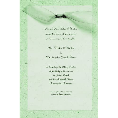 Gartner Studios Hand-Made Paper Wedding Invitation Kit, Sage, ...