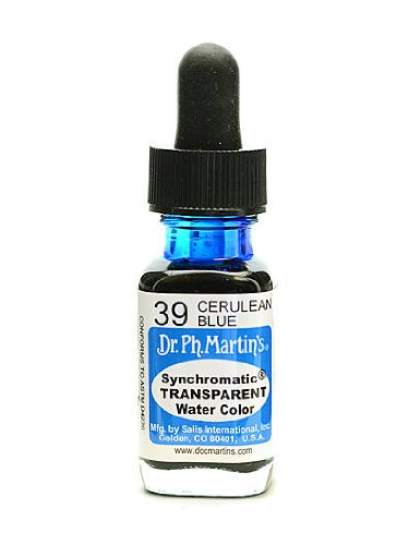 Dr. Ph. Martin'S Synchromatic Transparent Watercolors 1/2 Oz. Cerulean Blue