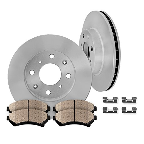 FRONT Premium OE 4 Lug 260 mm [2] Rotors + [4] Quiet Low Dust Ceramic Brake Pads + Pad Hardware Clips CFP40356B (96 Honda Accord Brake Rotor compare prices)