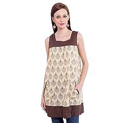 TUNTUK Women's Anita Dress Beige Cotton Dress