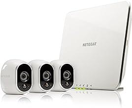 ARLO by NETGEAR Smart Caméra VMS3330-100EUS, Kit de surveillance 100% sans fil , 3 caméras HD incluses, vision nocturne, étanches intérieur/extérieur, fixations aimantées fournies