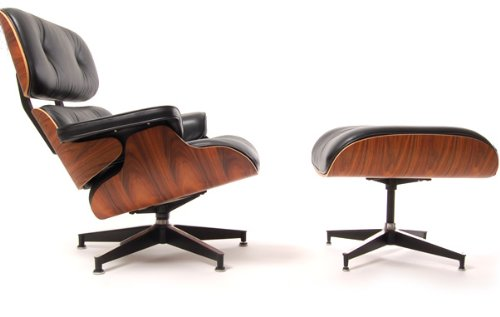 Eames Lounger and Ottoman in black full aniline leather and rosewood veneer