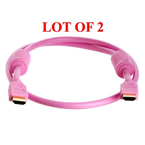 2-Pack 3-Ft Hdmi M/M Cable For Hdtv/Dvd Player Hd Lcd Tv(Pink)