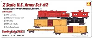 MicroTrains Z U.S. Army Train Set #2 (GP-35, 50' Flat Car w/Generator Load, 40' Tank Car, Two 50' Box Cars and Center Cupola Caboose)
