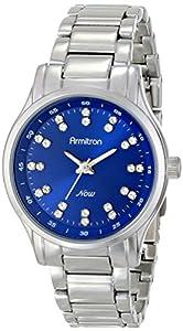 Armitron Women's 75/5100BLSV Swarovski Crystal Accented Blue Dial Silver-Tone Bracelet Watch