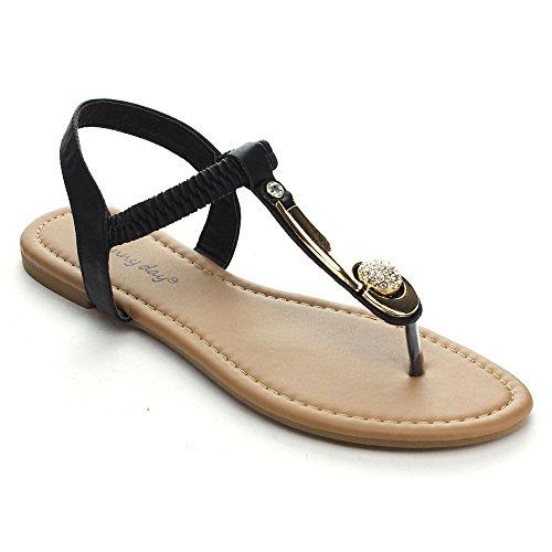 SUNNY DAY BRIA-1 Women's Golden Plate Rhinestone T-strap Elastic Flat Sandals