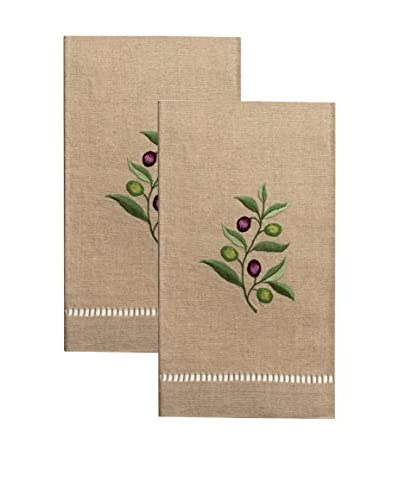 Henry Handwork Set of 2 Olive Branch Embroidered Hand Towels, Natural