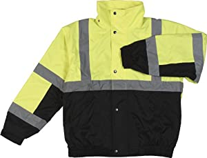ERB 61596 S106 Class 2 Bomber Jacket, Lime and Black, 4X-Large