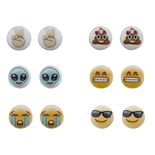 Lux Accessories Emoji Smiley Faces Alien Peace Sign Multi Earring Stud Set 6PC