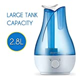 Ultrasonic Humidifier, Mospro 2.8 Liter Tank, Two 360 Degree Rotatable Outlets, Whisper-quiet And Waterless Auto Shut-off Function, With Possibility Of Aroma Diffusing And Seven Colors LED light