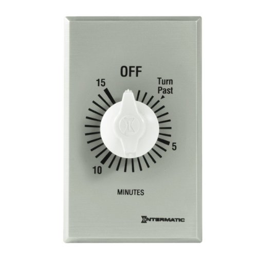 Intermatic Ff15Mc 15-Minute Spring Loaded Wall Timer, Brushed Metal