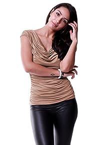 LeggingsQueen Women's Cowl Neck Sleeveless Modal Top