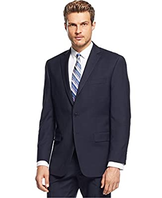 Calvin Klein Slim-Fit Blue Birdseye Two Button New Men's Sport Coat