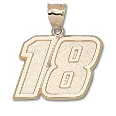Kyle Busch Giant Driver Number 18 1 1 2 Pendant - 14KT Gold Jewelry by Logo Art