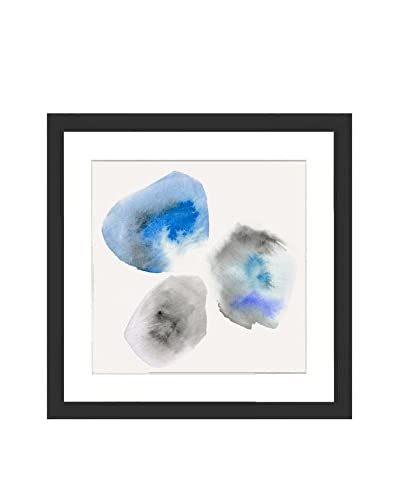 Blue Tri-Pebble Original Watercolor Painting