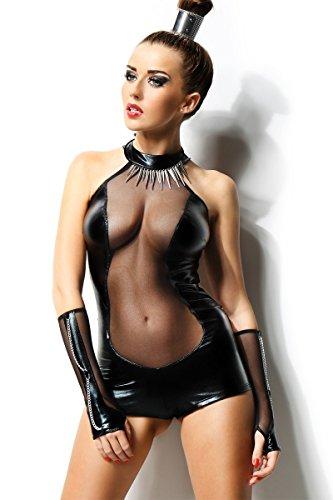 Dessous Sexy Body+Armstulpen Wetlook schwarz Reizwäsche Clubwear Party