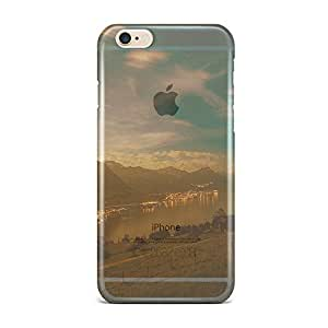 iPhone 6 Plus [Transparent Hard Plastic Cover] Printed Design - Lake Mountain City Village Night Light Nature Case