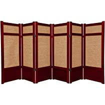 Hot Sale Oriental Furniture Short Office Partition, 48-Inch Low Jute Japanese Shoji Screen Room Divider, Rosewood 6 Panel