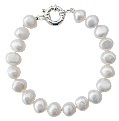 Classic Cultured Freshwater White 9-10mm Baroque Pearl bracelet with a pretty silver clasp, presented in an attractive satin silk pouch with a gift card