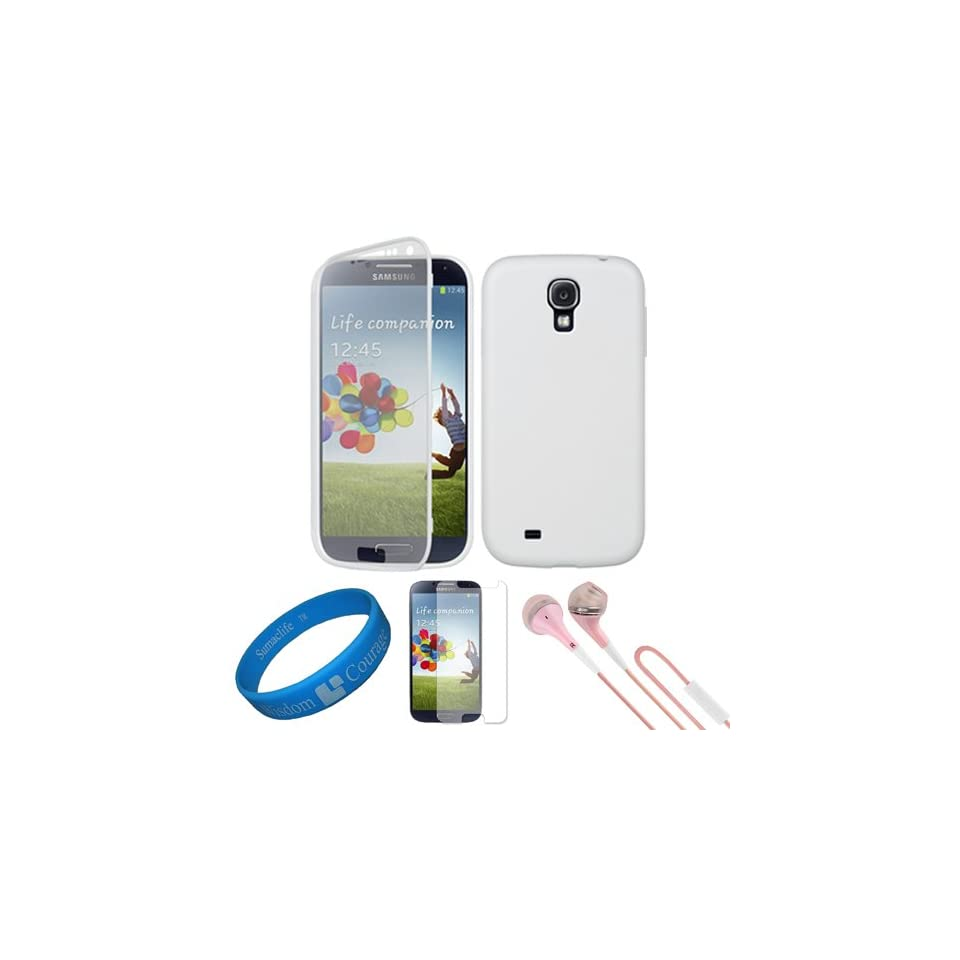 (White) Premium TPU Silicone Skin w/ Integrated Plastic Screen Guard for Samsung Galaxy S4 / S IV Android Smart Phones + Clear Anti Glare Screen Protector Strip w/ Cleaning Cloth + Pink VG Stereo Headphones with Windscreen Mic & Silicone Ear Tips + Sum