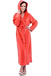 Raikou Women's Classic Micro Fleece Hooded Bathrobe Spa Robe B11102286114