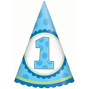 1st Birthday Boy Cone Hats Party Accessory (8 count) from Amscan