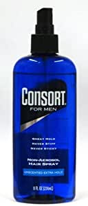Consort for Men Extra Hold Hair Spray, Unscented, Non-aerosol, 8 Oz (Pack of 3)