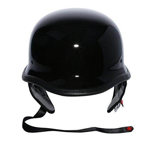 Tengchang Motorcycle Gloss Black DOT German Half Face Helmet Chopper Cruiser Biker (L)