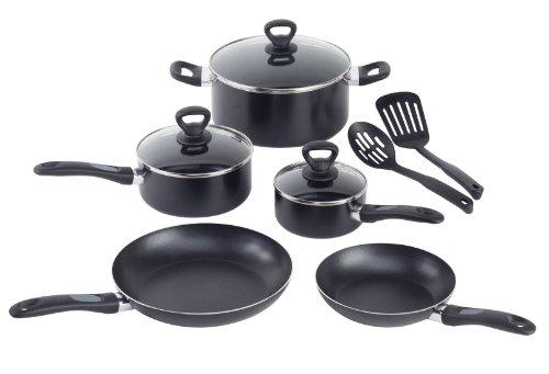 Mirro A797SA Get A Grip Aluminum Nonstick Cookware Set, 10-Piece, Black