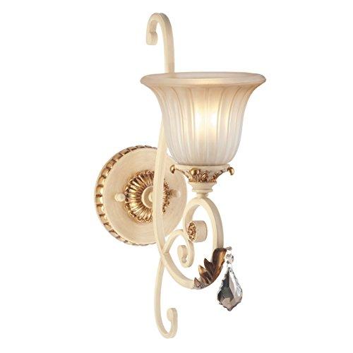 Applique style rustique, classique, armature en métal, plafonniers en verre brossé décoré avec cristal noir et éléménts en polyrésine, style maison de campagne 1 ampoule non-incl. E27 1x60W 230V