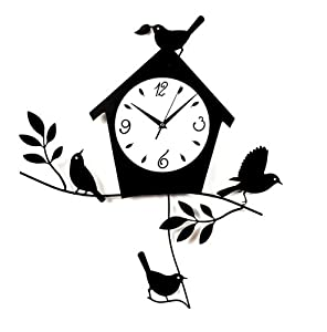 Amazon.com: Ashton Sutton Birds and BirdHouse Wall Clock