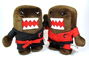 "Domo-kun 7"" Karate Plush Set - 2 Piece Set (1 Red and 1 Black)"