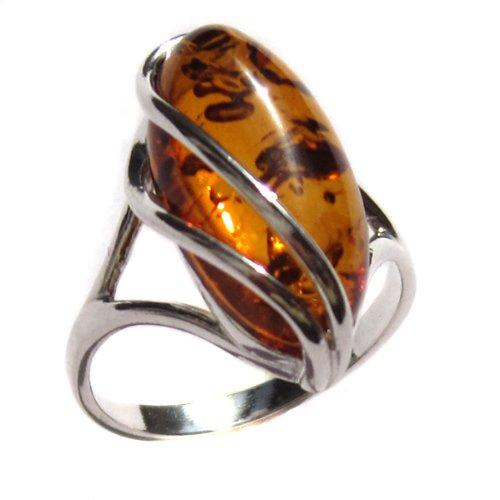 Certified Genuine Baltic Honey Amber and Sterling Silver Designer Ring, Sizes J, L, N, P, Q, S, T, V