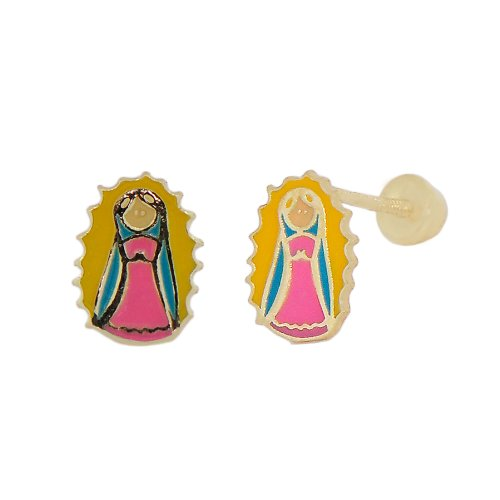 14k Yellow Gold, Colorful Enamel Coated Mini Virgin Mary Design Religious Stud Screw Back Earring