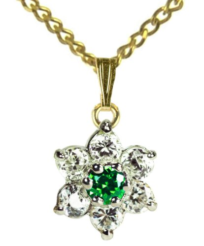 9ct Yellow Gold Created Emerald & Cubic Zirconia May Birthstone Pendant + 46cm Curb Chain