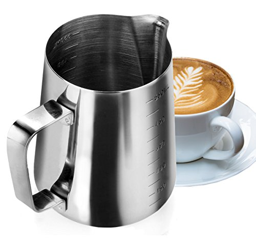 My Pitcher Measuring | Professional 18/8 Stainless Steel Measuring Cup Milk Frothing Pitcher with Measurement Marks and 18.5 Ounces Capacity | Superb for Precision Pouring and Espresso Coffee Machine (Metal Steamer Pitcher compare prices)