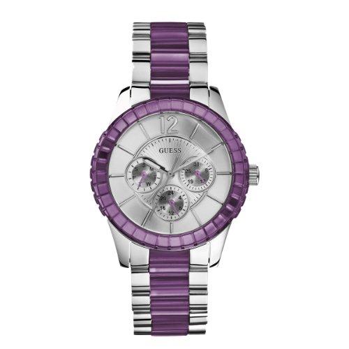Guess W13582L4 - Reloj analógico de cuarzo para mujer, correa de acero inoxidable multicolor