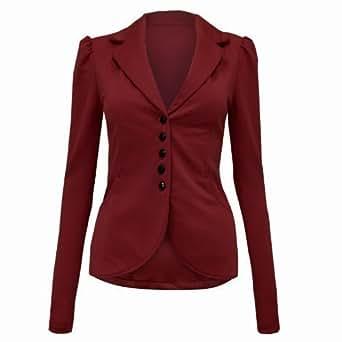 Envy Boutique - Veste Blazer Femme Habillé Bureau Moulant Epaulé 5 Bouton 36 - 42 - 36, Bordeaux