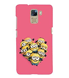 printtech Funny Yellow Cartoon Group Back Case Cover for Huawei Honor 7