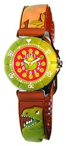 Baby Watch - Montre Garçon - Zip Dinosaure - Montre pédagogique 6-9 ans - Plastique gomme marron/vert avec dessins 3D - Méthode d'apprentissage