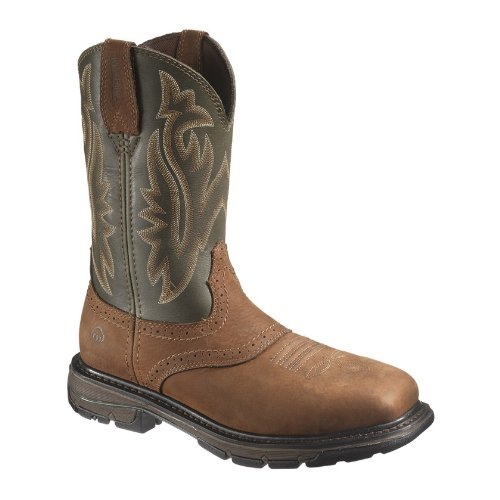 W10245 Wolverine Men's Javelina Safety Boots - Green/Brown -