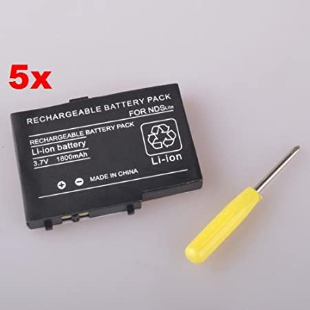 Neewer (5x) Rechargeable 3.7v 1800 mAh Li-ion Battery Pack for NDSL Nintendo DS Lite