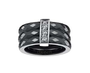 Ceranity - 1-18/0005-N-50 - Bague Anneaux Femme - Barrette - Argent 925/1000 2.5 gr - Diamant - Céramique - Blanc - T 50