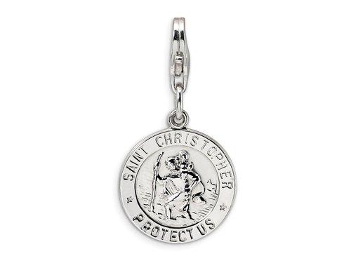 Amore LaVita(tm) Sterling Silver St. Christopher Medal w/Lobster Clasp Charm for Charm Bracelet