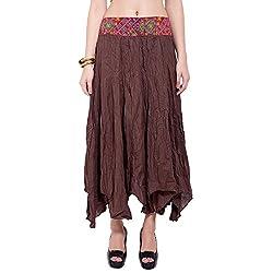 TUNTUK Women's Karm Skirt Brown Cotton Skirt