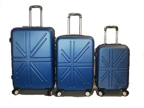 Set 3 Trolley rigide in ABS e policarbonato 4 ruote piroettanti colori vari (Blu)