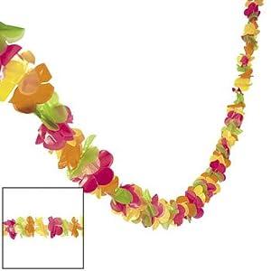 Plastic bright LUAU leis garland - 100 feet long!